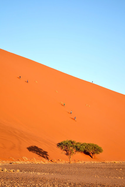 People running down dune 45 in Sossusvlei