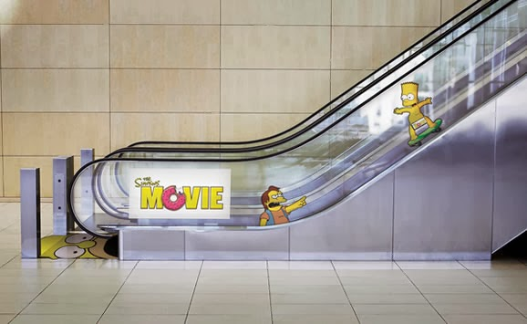 Homer Simpson Ads on escalators