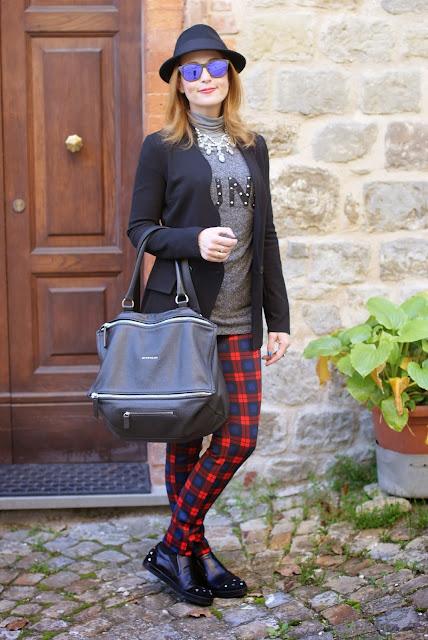 givenchy pandora bag, zara plaid pants, fashion and cookies, fashion blogger