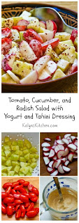 Tomato, Cucumber, and Radish Salad with Yogurt and Tahini Dressing [from KalynsKitchen.com]