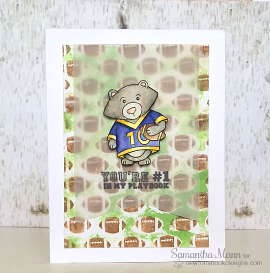 Bear Football Card by Samantha Mann | Touchdown Tails stamp set by Newton's Nook Designs #newtonsnook #football