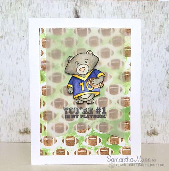 Bear Football Card by Samantha Mann | Touchdown Tails stamp set by Newton's Nook Designs #newtonsnook #football