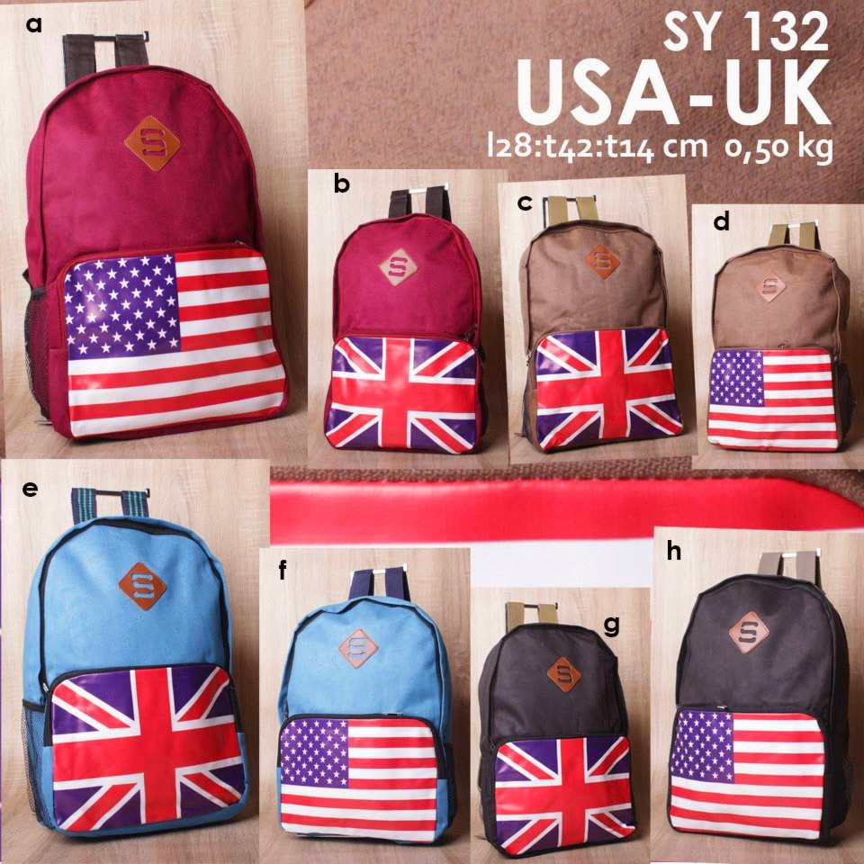 Jual Online Tas Ransel Modis Gambar Bendera USA UK Harga