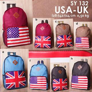 jual online Tas Ransel Modis Gambar Bendera USA UK Harga Terjangkau