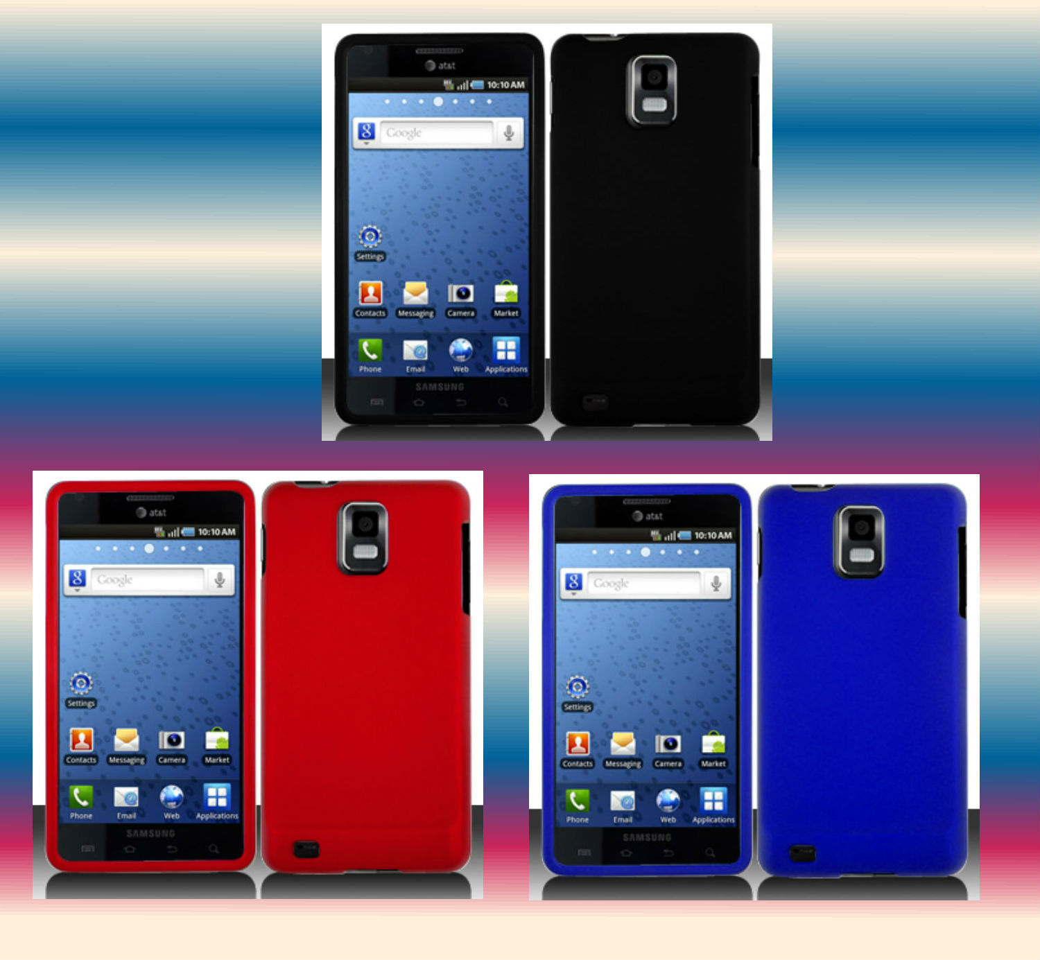 Black+Red+Blue Samsung Galaxy S Infuse 4G SGH-i997 Phone Cover Hard Shell Case