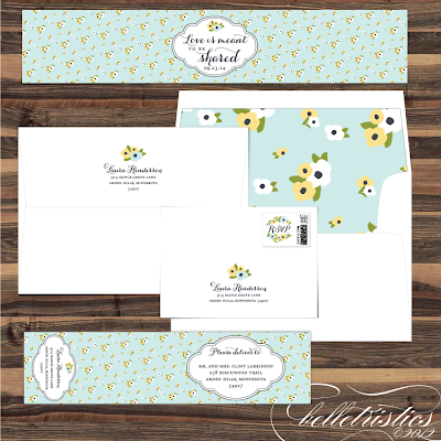 romantic hand drawn floral printable diy wedding address design invitation