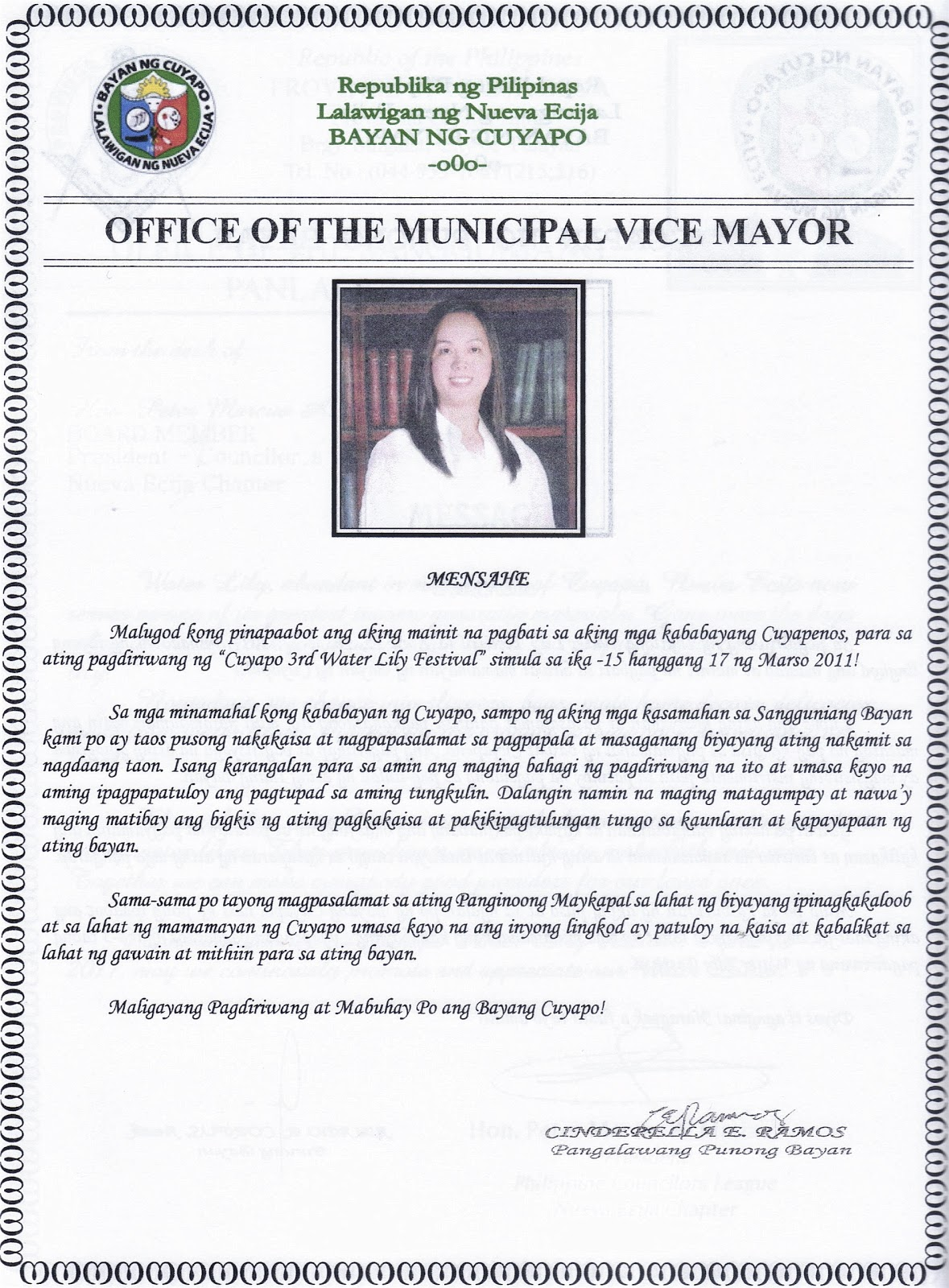 Cuyapo cuyapo town fiesta 2011 vice mayors message cuyapo town fiesta 2011 vice mayors message m4hsunfo
