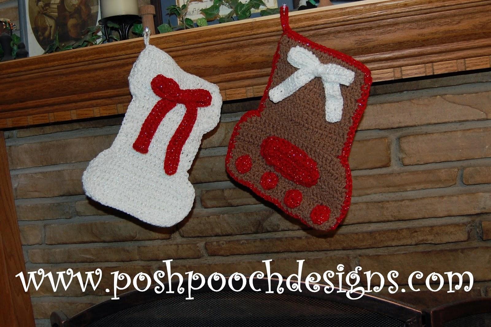 Dog Paw Christmas Stocking Crochet Pattern