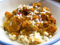 Pumpkin Coconut Curry with Meatballs over Coconut Rice