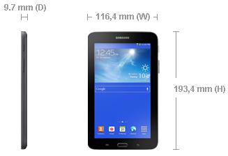 Dimensi Samsung Galaxy Tab 3 Lite 7.0