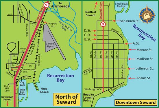 Maps of Alaska Roads By Bearfoot Guides: Map of Seward, Alaska