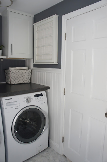 Home with baxter house tour week 5 half bath laundry room reveal for Washer and dryer in bathroom designs