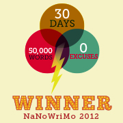 Winner's badge for NaNoWriMo 2012.