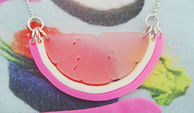 Tatty Devine, pink citrus slice, made in london