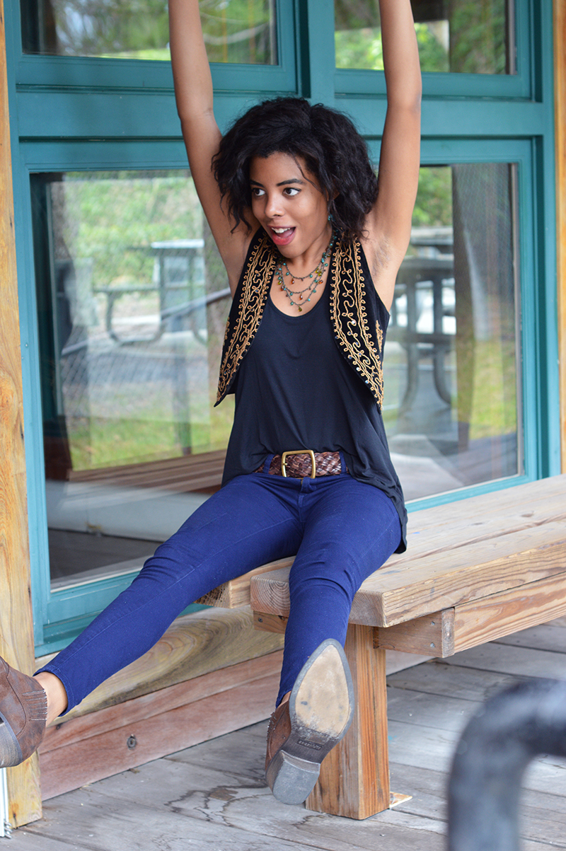 Miami Fashion and Indie Culture Blogger Anais Alexandre of Down to Stars in a forever 21 gypsy vest and Matisse boots
