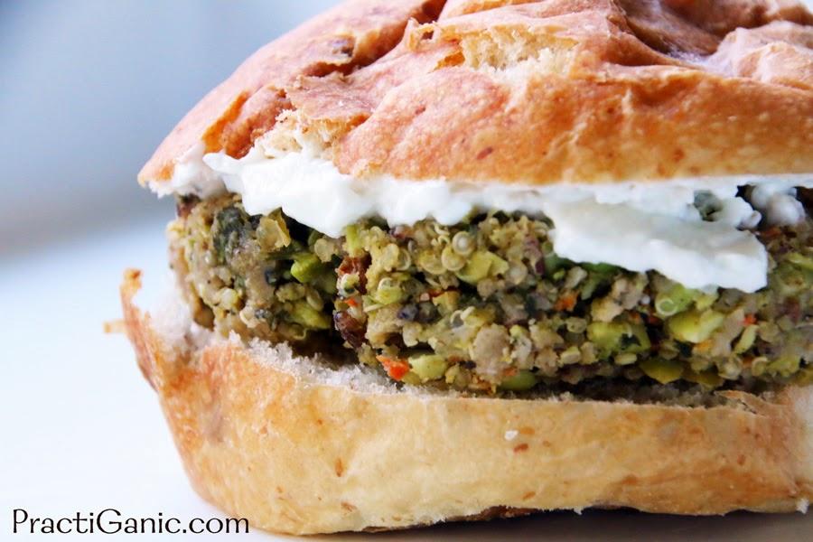 Edamame Burger with Spicy Cilantro Mayo | PractiGanic ...