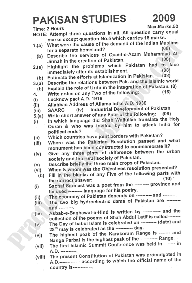 Pakistan-Studies-2009-five-year-paper-class-XII