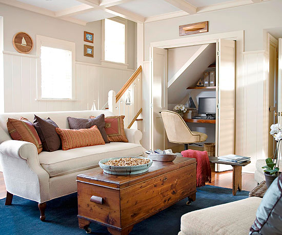 Small Homes Require A Bit Of Creative Thinking When It Comes To Carving Out  Space. In This Tiny Living Room, The Homeowners Created An Office Area By  ...