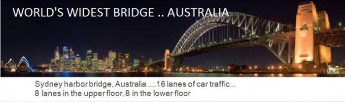 Sidney harbor bridge in Australia is the world's widest bridge. It has 16 lanes of car traffic - 8 lanes in the upper floor and 8 in the lower floor, world records, widest bridge