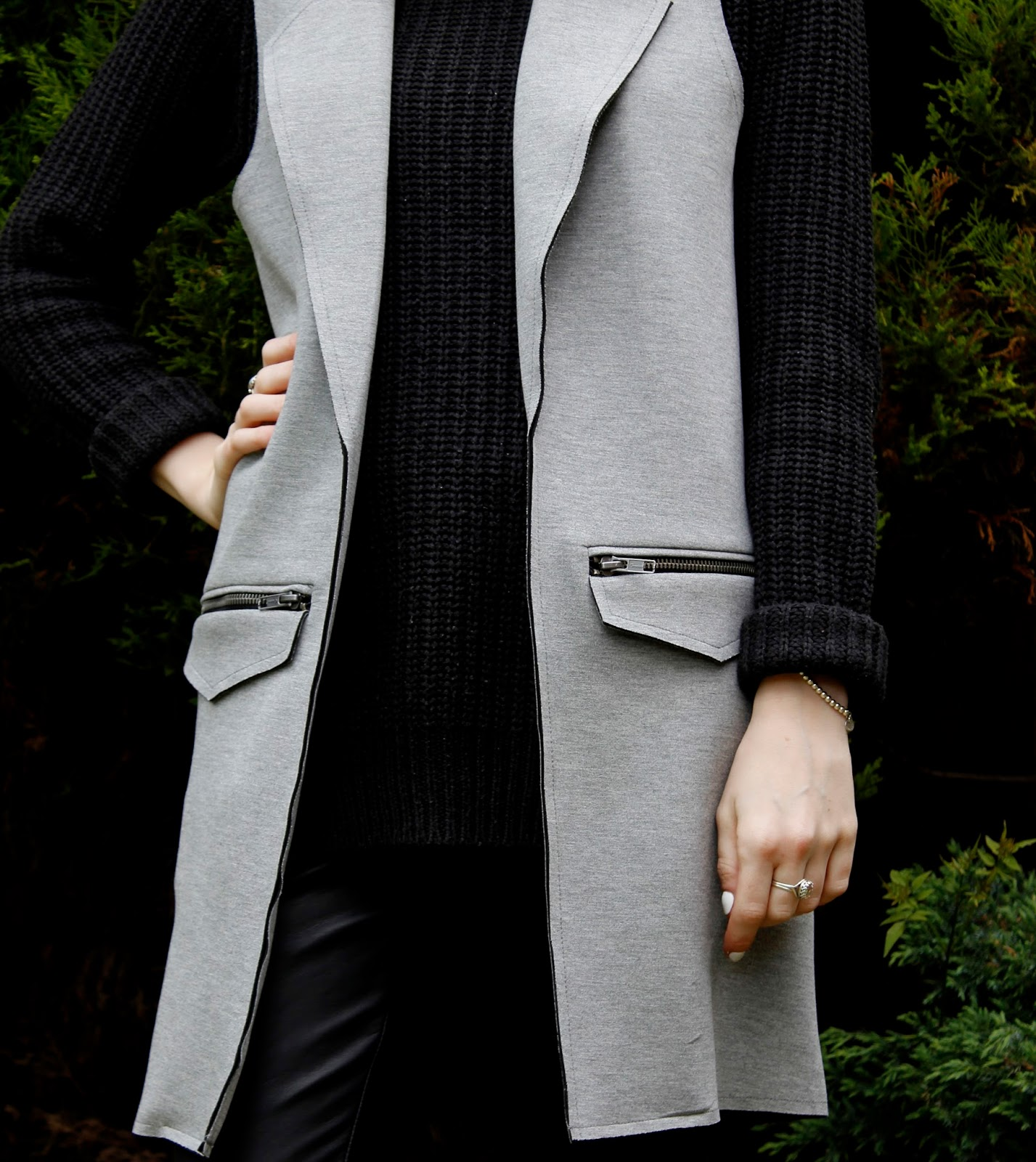 Topshop Grey Sleveless Ponte Jacket
