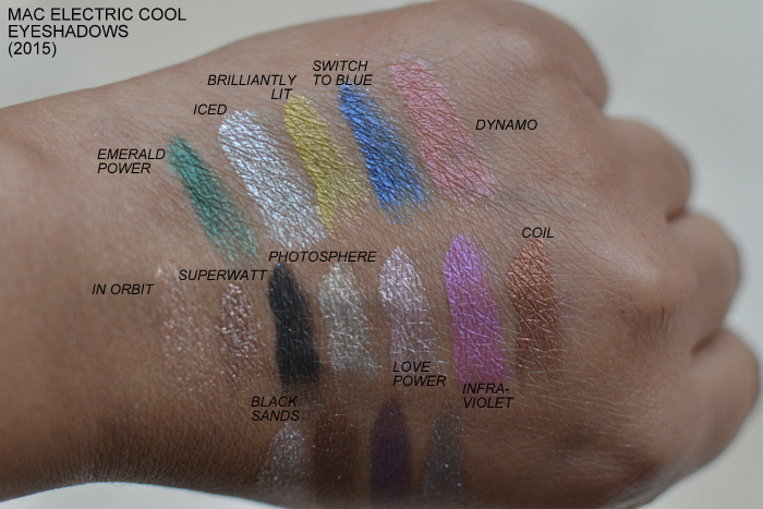 MAC Electric Cool Cream Eyeshadows 2015 Swatches Emerald Power Iced Brilliantly Lit Switch to Blue Dynamo