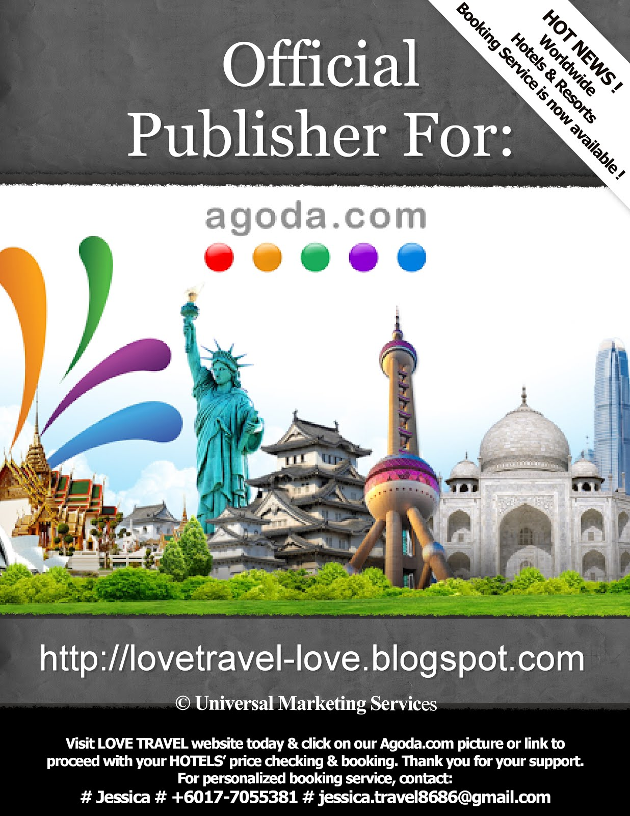 Glad to announce that Love Travel is now an official publisher for AGODA.COM ! CLICK this image now