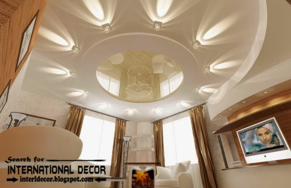 Plasterboard false ceiling with spot light for living room, false ceiling designs