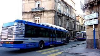 Les bus au centre-ville de Montpellier