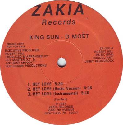 King Sun – D Moët – Hey Love / Mythological Rapper (1987, VLS, VBR)