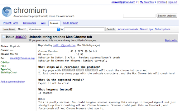 Issue 468390 - chromium - Unicode string crashes Mac Chrome tab - An open-source project to help move the web forward. - Google Project Hosting