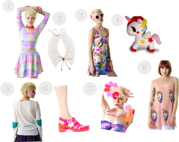 DollsKill, Dolls Kill wishlist, daisy bangles, pastel plaid dress, unicorn sweater, heart elbow patch sweater, jelly sandals, unicorn plush, unicorn stuffed animal, white detachable peter pan collar, kitty dress, A Coin For the Well