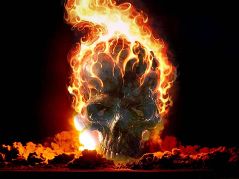 Cool Blue Flaming Skull