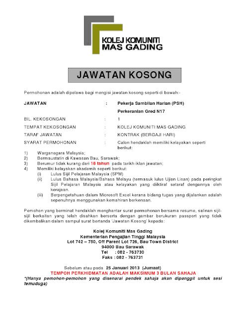 Jawatan Kosong Di Kolej Komuniti Mas Gading Sarawak 25 Januari 2013