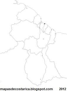 Mapa politico de GUYANA para pintar