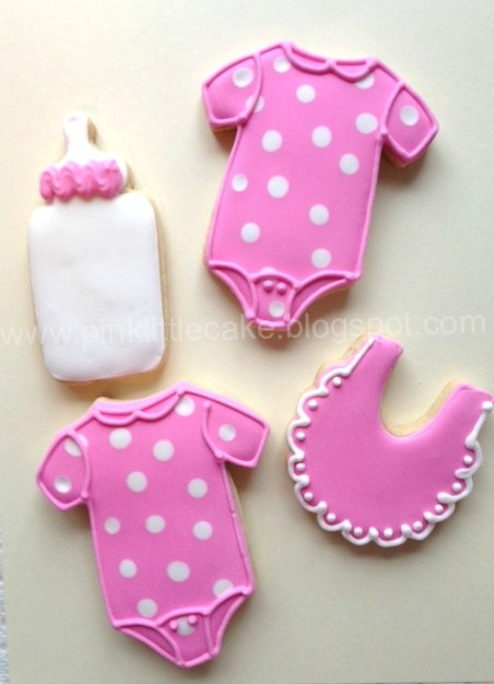 my pink little cake baby shower cookies for a boy and a baby girl