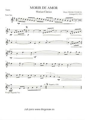 Partitura de Morir de Amor para Saxofón Tenor de Frank Pourcel y otros instrumentos. Partituras de Música Clásica
