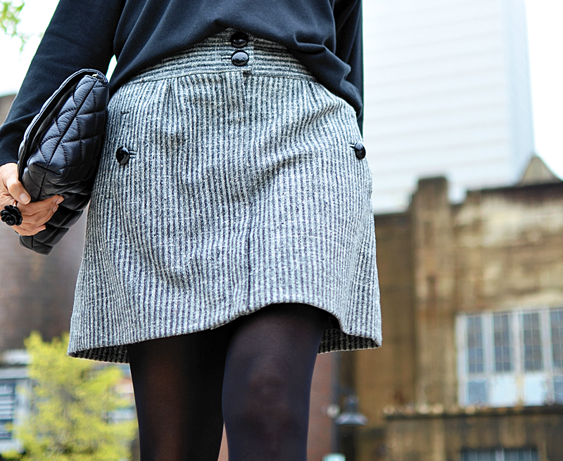Outfit with tweed skirt