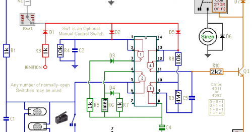 Simple Cmos Motorcycle Alarm Circuit Diagram