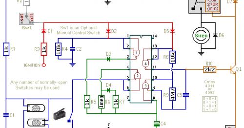 Simple Cmos Motorcycle Alarm Circuit Diagram
