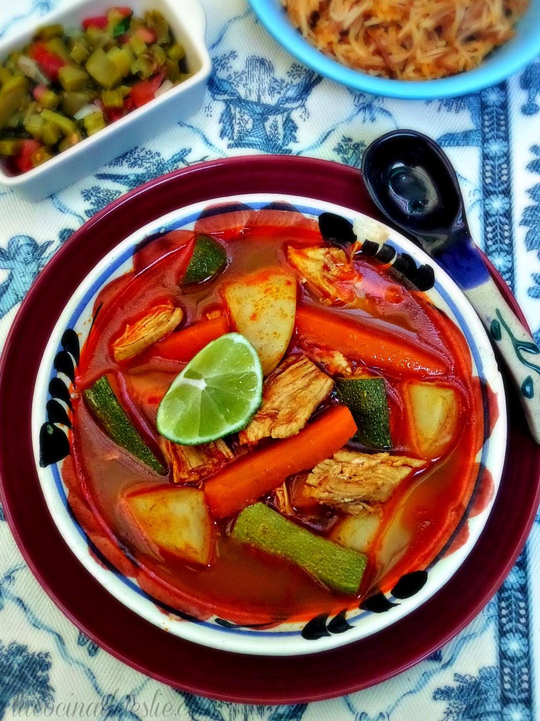 Mole de Olla (Spicy Mexican Chicken Soup) - lacocinadeleslie.com