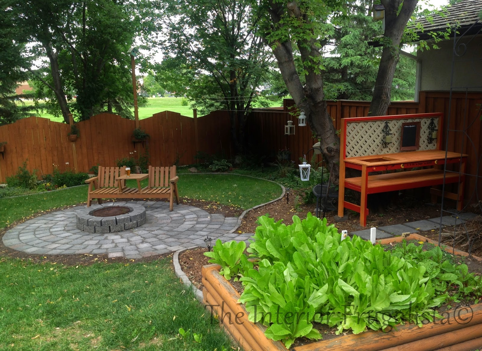 Easy DIY potting bench and outdoor bar with fire pit