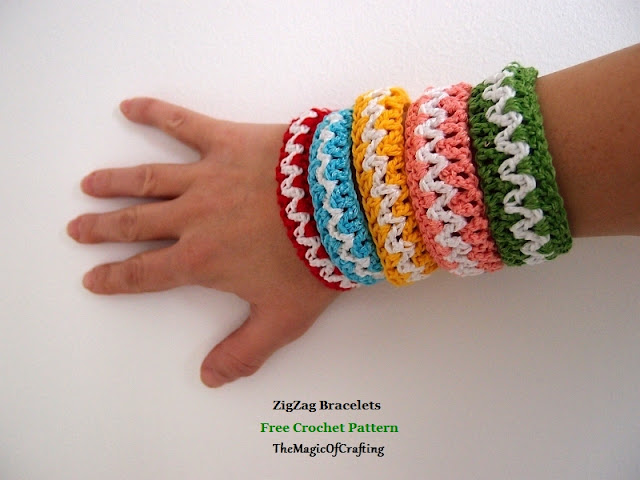 Free Crochet Patterns And Diy Crochet Charts Zigzag Bracelets