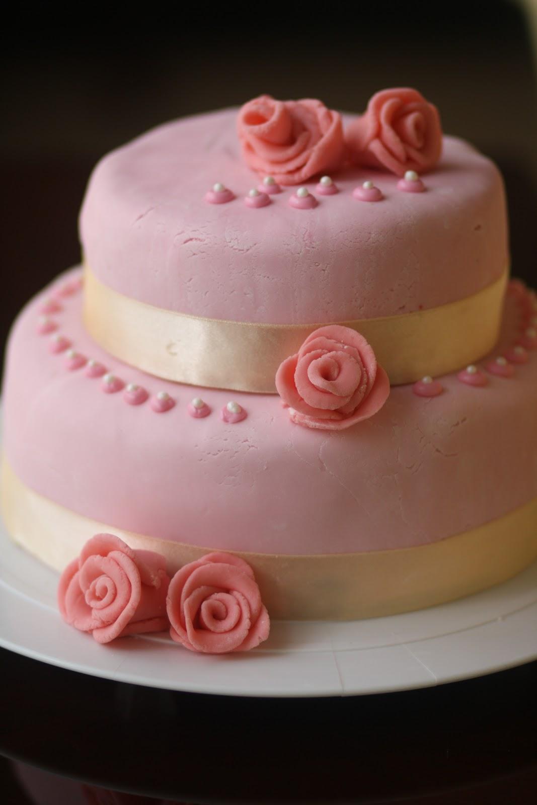 Spontaneous Euphoria Two Tiered Wedding Cake with Fondant