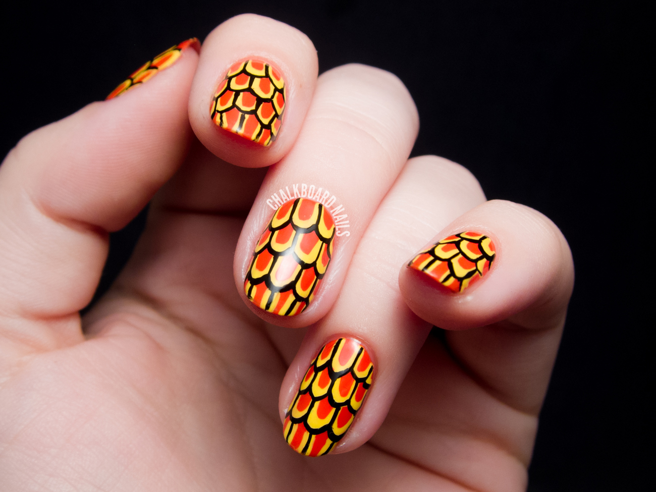 Stylized Goldfish Scales Nail Art Chalkboard Nails Nail Art Blog