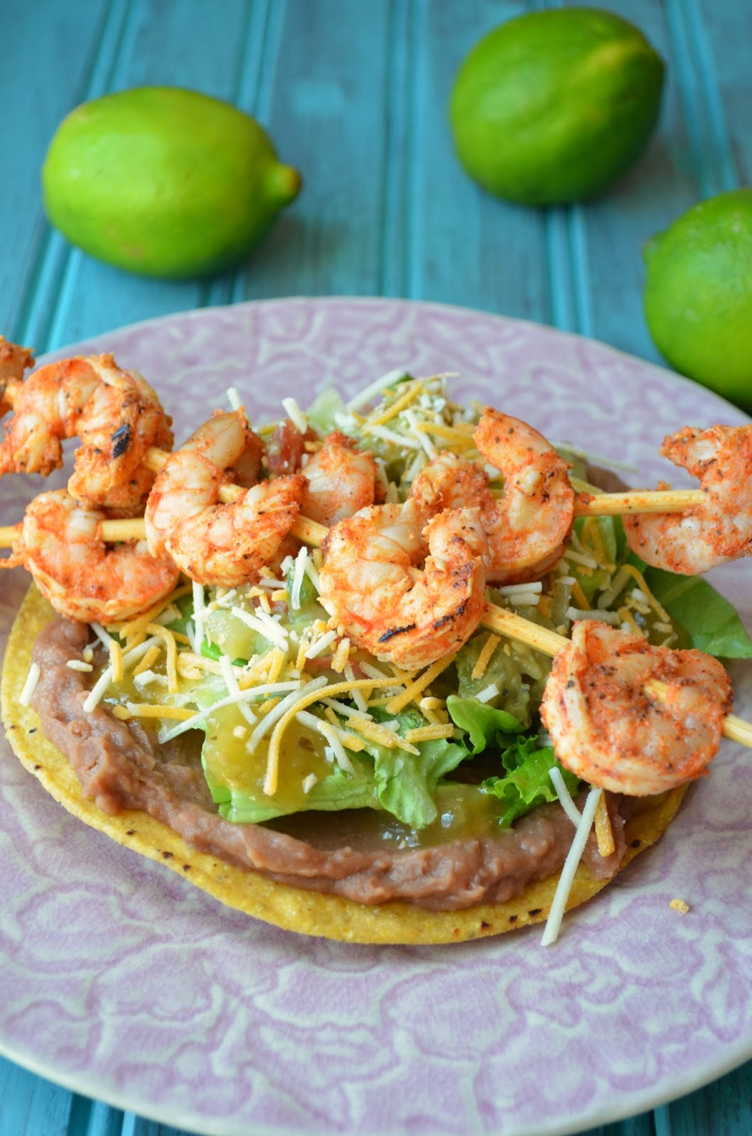 spicy grilled shrimp tostadas