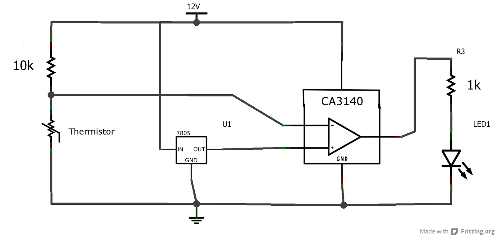 Electronics Projects And Tutorials The Op Amp As A Comparator How To Build Simple Thermistor Circuit Is Resistance That Varying With Temperature At Room Measured About 10k But When I Touch It