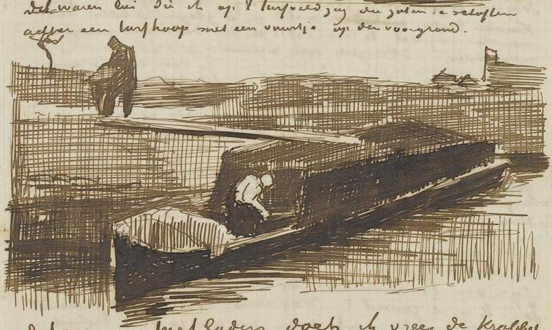 Peat Barge With Two Figures drawing by Vincent van Gogh
