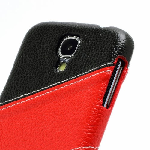 Three-color Leather Coated Hard Case for Samsung Galaxy S4 IV i9500 i9502 i9505 - Black / Red / White