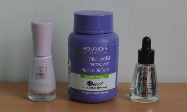 Bourjois magic nail varnish remover for hands and feet, Bourjois so laque in peace and mauve, Bourjois instant dry nail drops