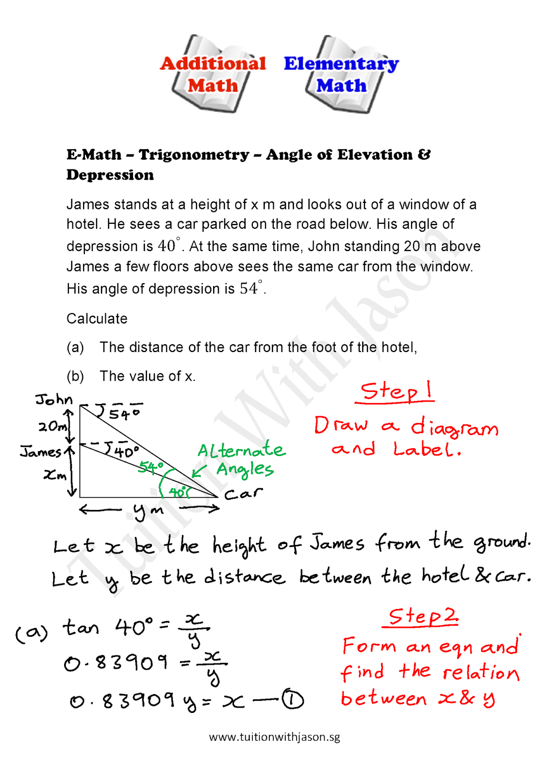 worksheet Angles Of Elevation And Depression Worksheet Answers e math trigonometry angle of elevation depression 2 2